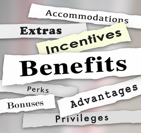 employee benefits incentives bonuses extras perks and advantages to illustrate important privleges or accommodations on the job