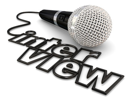 interview depiction to offer job applicant the microphone-let them talk in the interview